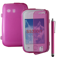 Samsung Galaxy Y Neo GT-S5360 S5369i: Accessoire Coque Etui Housse Pochette silicone gel Portefeuille Livre rabat + Stylet - ROSE