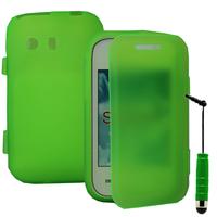 Samsung Galaxy Y Neo GT-S5360 S5369i: Accessoire Coque Etui Housse Pochette silicone gel Portefeuille Livre rabat + mini Stylet - VERT