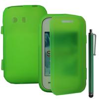 Samsung Galaxy Y Neo GT-S5360 S5369i: Accessoire Coque Etui Housse Pochette silicone gel Portefeuille Livre rabat + Stylet - VERT