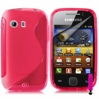 Samsung Galaxy Y Neo GT-S5360 S5369i: Accessoire Housse Etui Pochette Coque S silicone gel + mini Stylet - ROSE