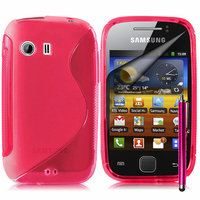 Samsung Galaxy Y Neo GT-S5360 S5369i: Accessoire Housse Etui Pochette Coque S silicone gel + Stylet - ROSE