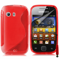 Samsung Galaxy Y Neo GT-S5360 S5369i: Accessoire Housse Etui Pochette Coque S silicone gel + mini Stylet - ROUGE