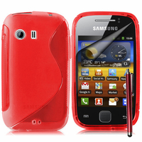 Samsung Galaxy Y Neo GT-S5360 S5369i: Accessoire Housse Etui Pochette Coque S silicone gel + Stylet - ROUGE