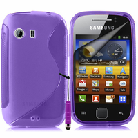 Samsung Galaxy Y Neo GT-S5360 S5369i: Accessoire Housse Etui Pochette Coque S silicone gel + mini Stylet - VIOLET