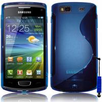 Samsung Wave 3 S8600: Accessoire Housse Etui Pochette Coque S silicone gel + mini Stylet - BLEU