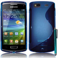 Samsung Wave 3 S8600: Accessoire Housse Etui Pochette Coque S silicone gel + Stylet - BLEU