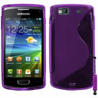 Samsung Wave 3 S8600: Accessoire Housse Etui Pochette Coque S silicone gel + mini Stylet - VIOLET