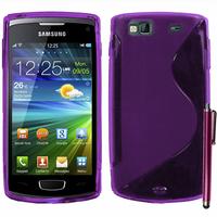 Samsung Wave 3 S8600: Accessoire Housse Etui Pochette Coque S silicone gel + Stylet - VIOLET