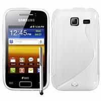 Samsung Wave Y S5380: Accessoire Housse Etui Pochette Coque S silicone gel + Stylet - BLANC