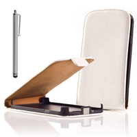 Samsung Wave Y S5380: Accessoire Housse coque etui cuir fine slim + Stylet - BLANC