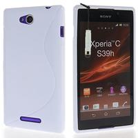 Sony Xperia C: Accessoire Housse Etui Pochette Coque S silicone gel + mini Stylet - BLANC