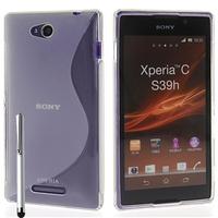 Sony Xperia C: Accessoire Housse Etui Pochette Coque S silicone gel + Stylet - TRANSPARENT