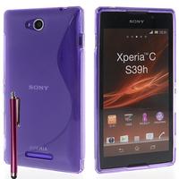 Sony Xperia C: Accessoire Housse Etui Pochette Coque S silicone gel + Stylet - VIOLET