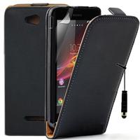 Sony Xperia C: Accessoire Housse coque etui cuir fine slim + mini Stylet - NOIR