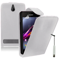 Sony Xperia E/ E Dual C1605 C1505 C1604: Accessoire Etui Housse Coque Pochette simili cuir + mini Stylet - BLANC