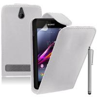 Sony Xperia E/ E Dual C1605 C1505 C1604: Accessoire Etui Housse Coque Pochette simili cuir + Stylet - BLANC