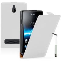 Sony Xperia E/ E Dual C1605 C1505 C1604: Accessoire Housse coque etui cuir fine slim + mini Stylet - BLANC