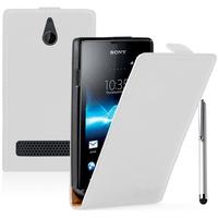 Sony Xperia E/ E Dual C1605 C1505 C1604: Accessoire Housse coque etui cuir fine slim + Stylet - BLANC