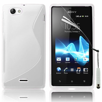 Sony Xperia J St26i: Accessoire Housse Etui Pochette Coque S silicone gel + mini Stylet - BLANC