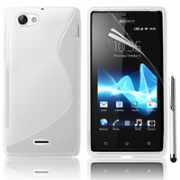 Sony Xperia J St26i: Accessoire Housse Etui Pochette Coque S silicone gel + Stylet - BLANC
