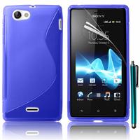 Sony Xperia J St26i: Accessoire Housse Etui Pochette Coque S silicone gel + Stylet - BLEU