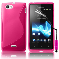 Sony Xperia J St26i: Accessoire Housse Etui Pochette Coque S silicone gel + mini Stylet - ROSE