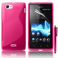 Sony Xperia J St26i: Accessoire Housse Etui Pochette Coque S silicone gel + Stylet - ROSE