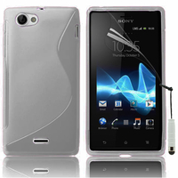 Sony Xperia J St26i: Accessoire Housse Etui Pochette Coque S silicone gel + mini Stylet - TRANSPARENT