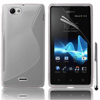 Sony Xperia J St26i: Accessoire Housse Etui Pochette Coque S silicone gel + Stylet - TRANSPARENT