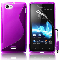 Sony Xperia J St26i: Accessoire Housse Etui Pochette Coque S silicone gel + mini Stylet - VIOLET
