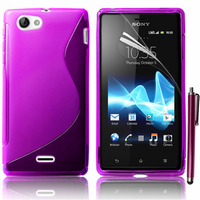 Sony Xperia J St26i: Accessoire Housse Etui Pochette Coque S silicone gel + Stylet - VIOLET