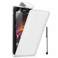 Sony Xperia L S36h/C2105/C2104: Accessoire Etui Housse Coque Pochette simili cuir + Stylet - BLANC