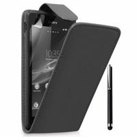 Sony Xperia L S36h/C2105/C2104: Accessoire Etui Housse Coque Pochette simili cuir + Stylet - NOIR