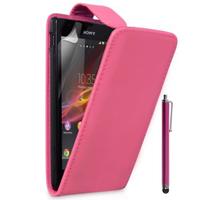 Sony Xperia L S36h/C2105/C2104: Accessoire Etui Housse Coque Pochette simili cuir + Stylet - ROSE
