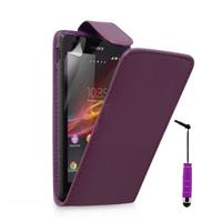 Sony Xperia L S36h/C2105/C2104: Accessoire Etui Housse Coque Pochette simili cuir + mini Stylet - VIOLET