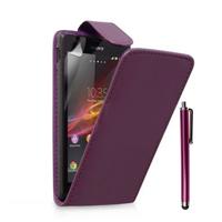 Sony Xperia L S36h/C2105/C2104: Accessoire Etui Housse Coque Pochette simili cuir + Stylet - VIOLET