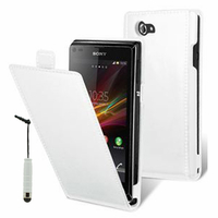 Sony Xperia L S36h/C2105/C2104: Accessoire Housse coque etui cuir fine slim + mini Stylet - BLANC