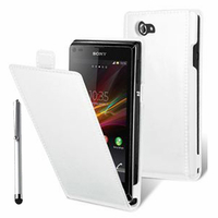 Sony Xperia L S36h/C2105/C2104: Accessoire Housse coque etui cuir fine slim + Stylet - BLANC
