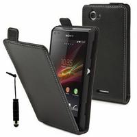 Sony Xperia L S36h/C2105/C2104: Accessoire Housse coque etui cuir fine slim + mini Stylet - NOIR