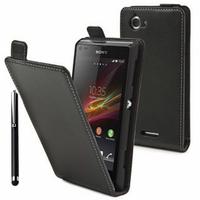 Sony Xperia L S36h/C2105/C2104: Accessoire Housse coque etui cuir fine slim + Stylet - NOIR