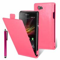 Sony Xperia L S36h/C2105/C2104: Accessoire Housse coque etui cuir fine slim + Stylet - ROSE