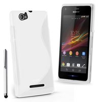 Sony Xperia M C1904/ C1905: Accessoire Housse Etui Pochette Coque S silicone gel + Stylet - BLANC