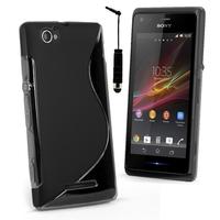 Sony Xperia M C1904/ C1905: Accessoire Housse Etui Pochette Coque S silicone gel + mini Stylet - NOIR