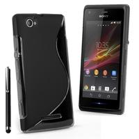 Sony Xperia M C1904/ C1905: Accessoire Housse Etui Pochette Coque S silicone gel + Stylet - NOIR