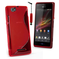Sony Xperia M C1904/ C1905: Accessoire Housse Etui Pochette Coque S silicone gel + mini Stylet - ROUGE
