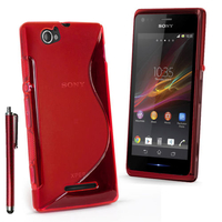Sony Xperia M C1904/ C1905: Accessoire Housse Etui Pochette Coque S silicone gel + Stylet - ROUGE