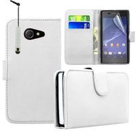 Sony Xperia M2/ M2 Dual D2303 D2305 D2306: Accessoire Etui portefeuille Livre Housse Coque Pochette cuir PU + mini Stylet - BLANC