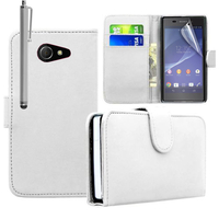 Sony Xperia M2/ M2 Dual D2303 D2305 D2306: Accessoire Etui portefeuille Livre Housse Coque Pochette cuir PU + Stylet - BLANC