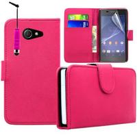 Sony Xperia M2/ M2 Dual D2303 D2305 D2306: Accessoire Etui portefeuille Livre Housse Coque Pochette cuir PU + mini Stylet - ROSE