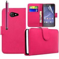Sony Xperia M2/ M2 Dual D2303 D2305 D2306: Accessoire Etui portefeuille Livre Housse Coque Pochette cuir PU + Stylet - ROSE